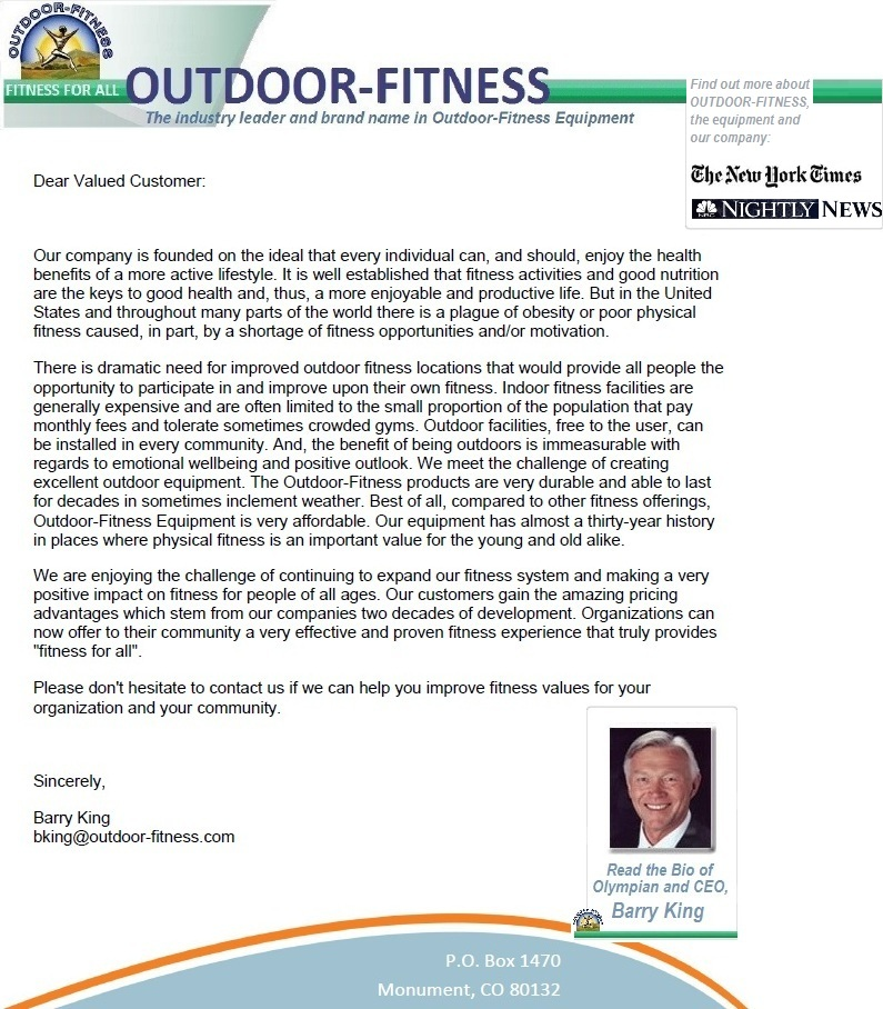 About Us Outdoor Fitness Equipment Health Fitness Wellbeing New York Times Barry King NBC Nightly NEWS adult playground obeisity
