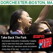 Outdoor Fitness Equipment ESPN Rise Up Dorchester boston Massachusetts education communty athletic complex park gym sports Facility