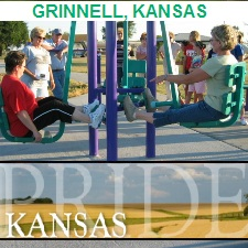 Outdoor Fitness Equipment GRINNELL KANSAS PRIDE SMALL TOWN HEALTH TRAIL FAMILY GRANT FIRLD RECREATION REC communty athletic complex park gym Facility