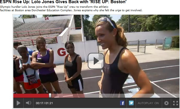 Outdoor Fitness Equipment Rise Up ESPN Dorchester Boston Outside Community Health Park Trail Playground Gym Video Lolo Jones Olympic Hurdler