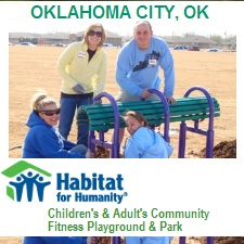 Outdoor Fitness Equipment oklahoma city ok habitat for humanity team build communty adult grown up kids children rec recreation health exercise playground athletic complex park gym Facility area