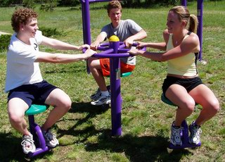 Sitting Rotator At Outdoor Fitness